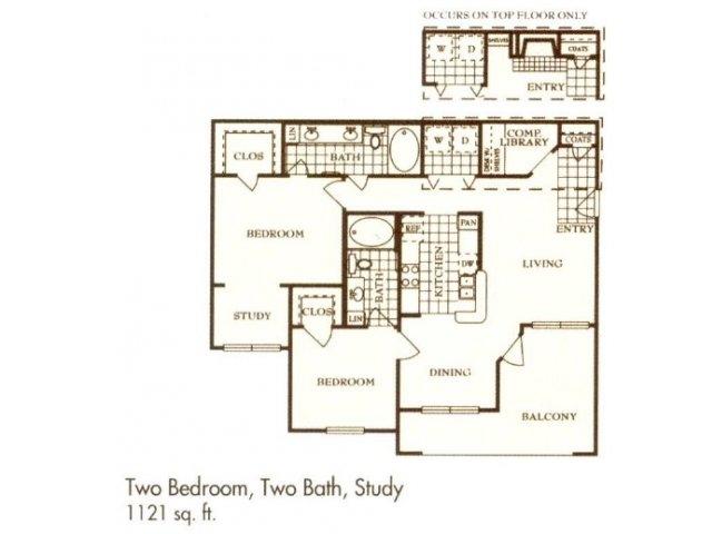 1,121 sq. ft. B2 floor plan