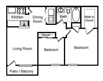 851 sq. ft. Ferndale floor plan
