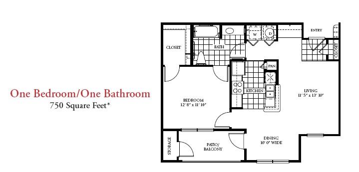 750 sq. ft. 50% floor plan