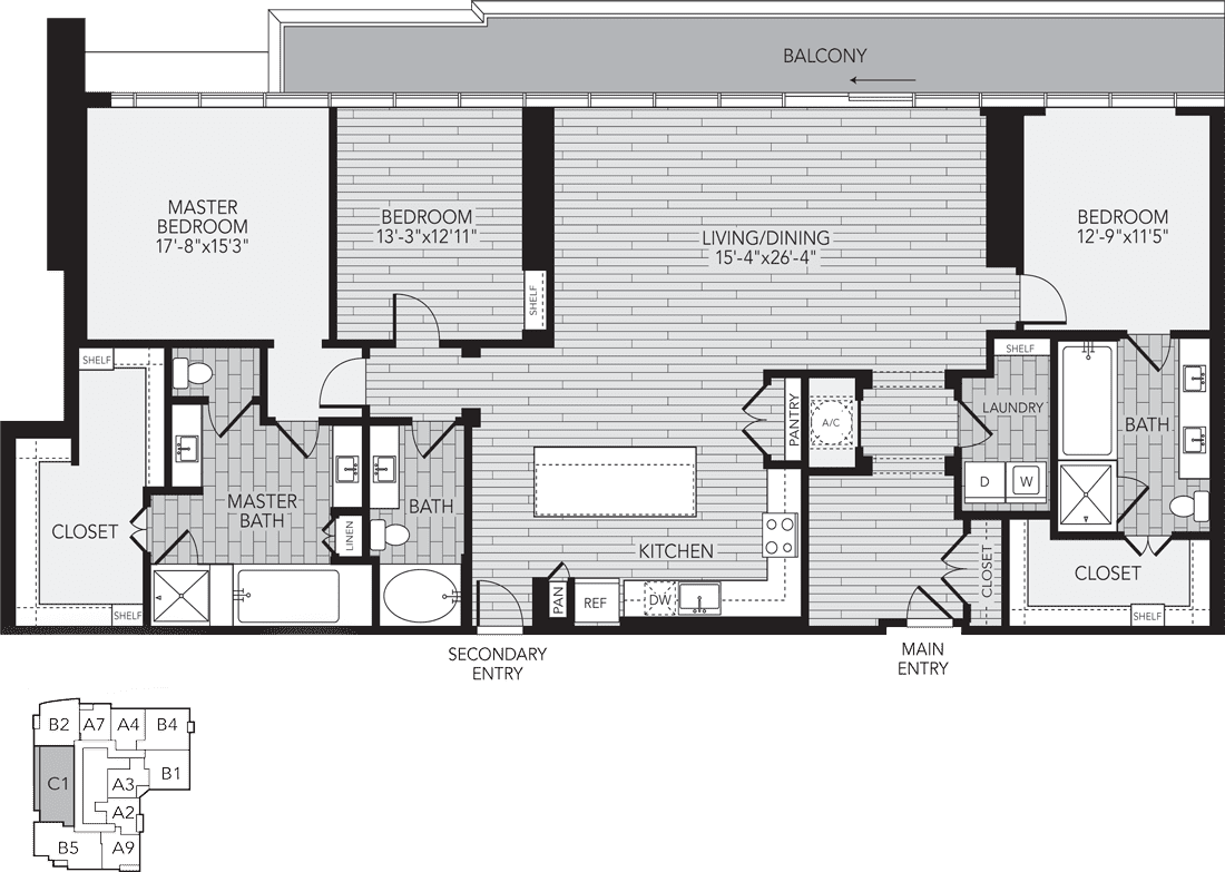 2,227 sq. ft. C1/Penthouse floor plan