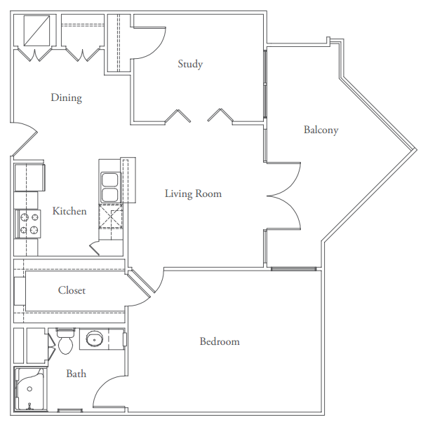 899 sq. ft. Mabry floor plan