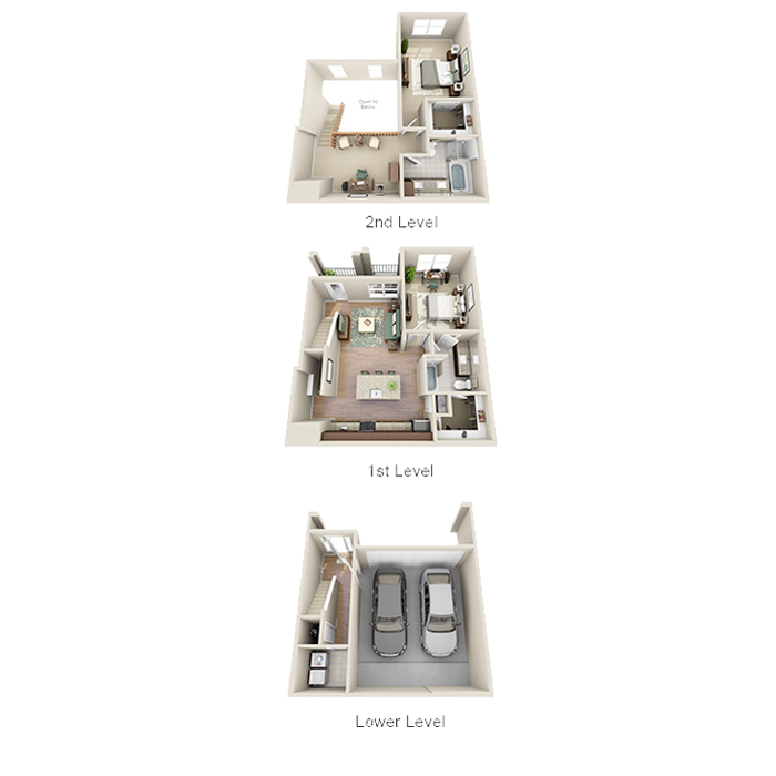 1,496 sq. ft. B2B floor plan