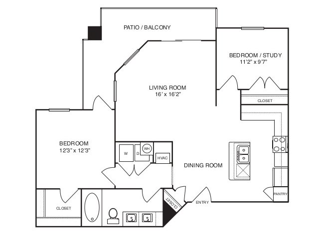 928 sq. ft. A4 floor plan