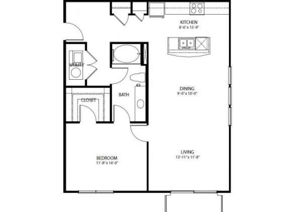 965 sq. ft. A7 PH3 floor plan
