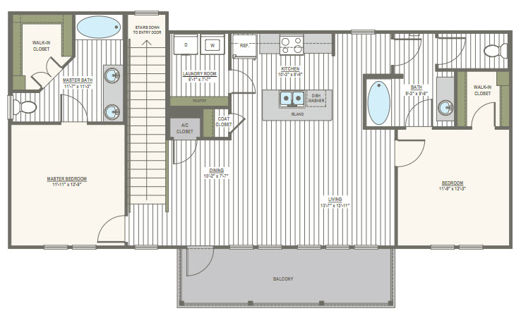 1,174 sq. ft. 2D floor plan