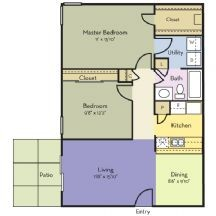 930 sq. ft. Ginger floor plan