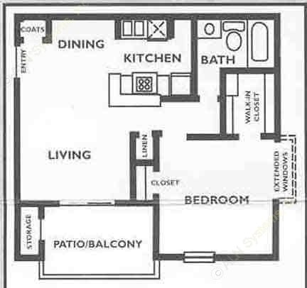 549 sq. ft. A1 floor plan