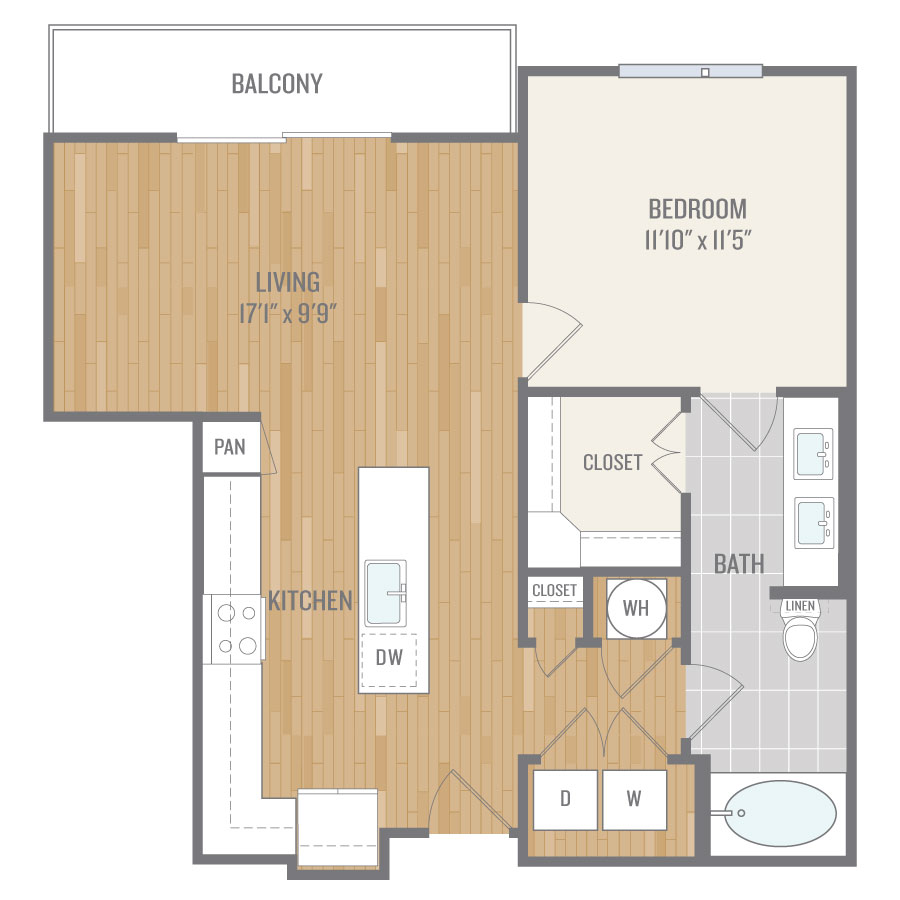 816 sq. ft. A8 floor plan