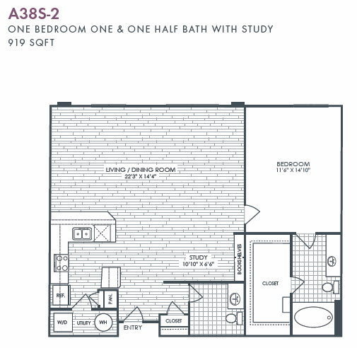 919 sq. ft. A38S-2 floor plan