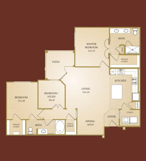 1,339 sq. ft. Sabine floor plan