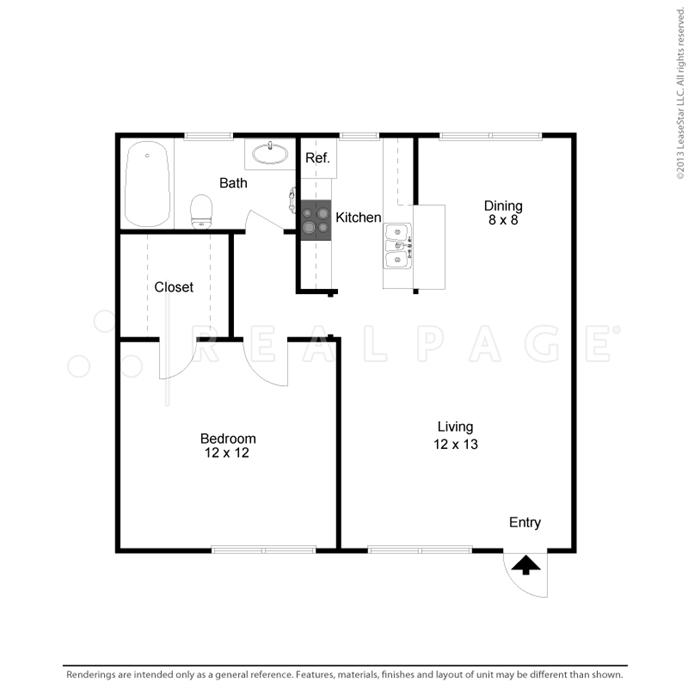 594 sq. ft. floor plan