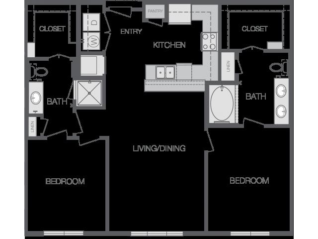 1,096 sq. ft. to 1,149 sq. ft. B1 floor plan