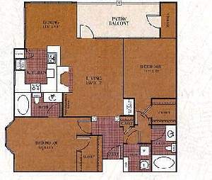 1,140 sq. ft. B3/KENDALL floor plan