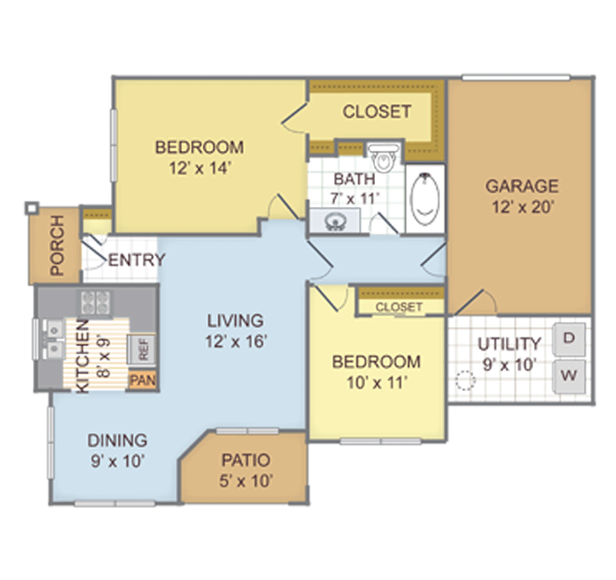 943 sq. ft. 2C floor plan