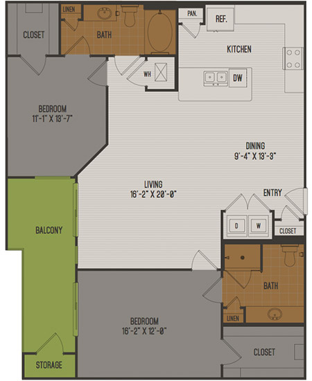 1,274 sq. ft. C4 floor plan