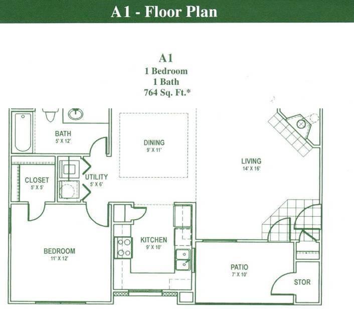 764 sq. ft. A1 floor plan