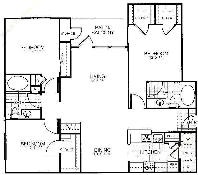 1,316 sq. ft. C2 floor plan
