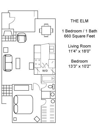 660 sq. ft. Elm floor plan