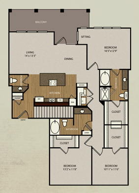 1,607 sq. ft. C2 floor plan
