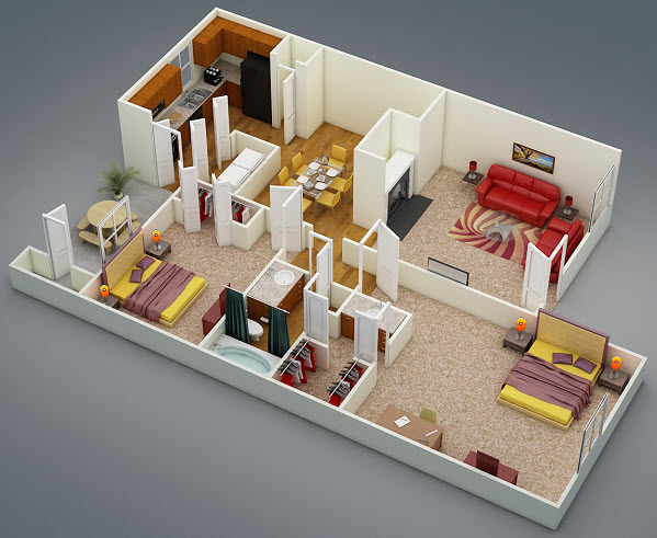 873 sq. ft. D1 floor plan