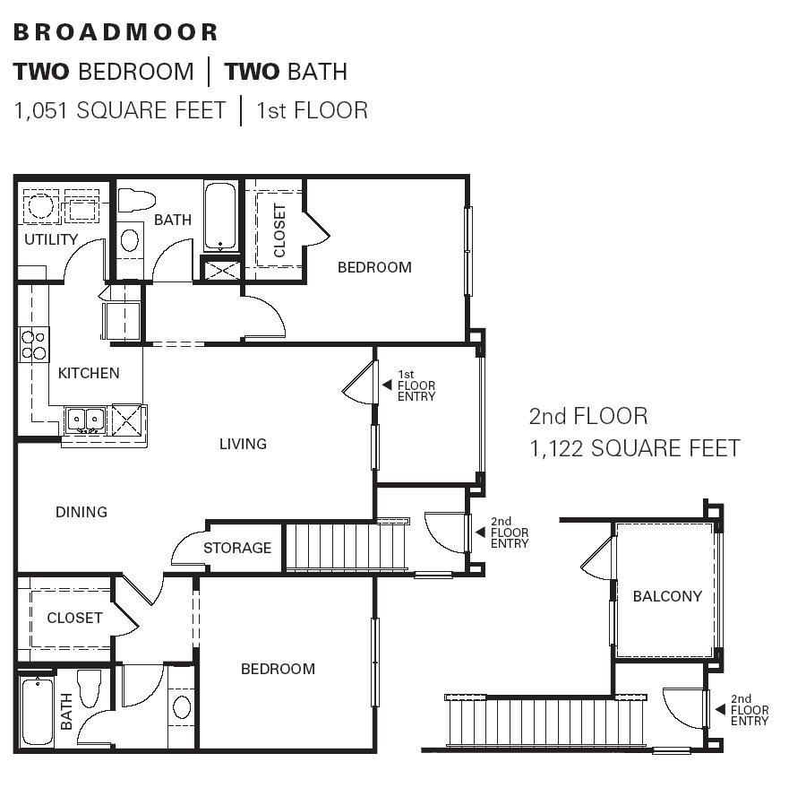 1,051 sq. ft. BROADMOOR floor plan