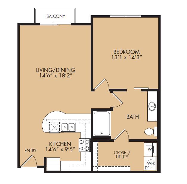815 sq. ft. A2B-Precedent floor plan