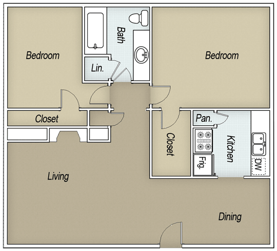 1,024 sq. ft. B1I floor plan