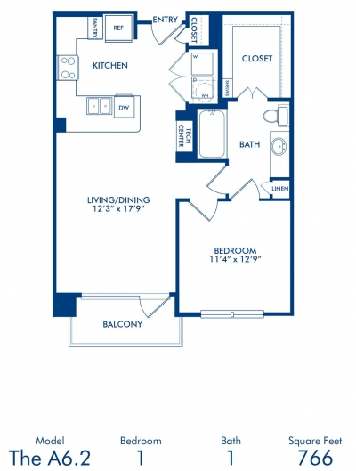 766 sq. ft. A6.2 floor plan