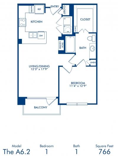 766 sq. ft. A6.2 floor plan