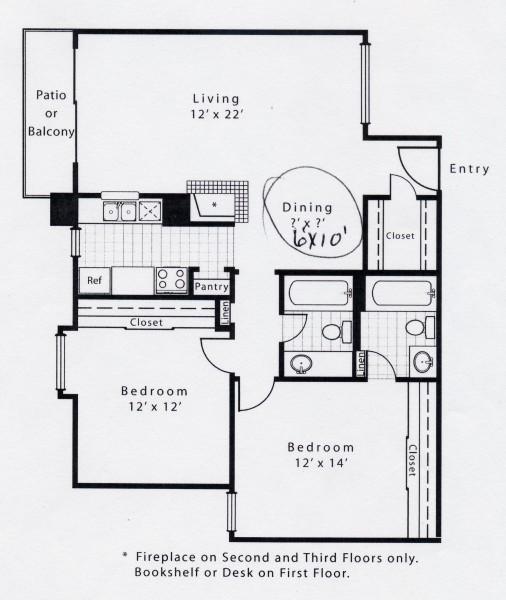 957 sq. ft. B2CFP floor plan