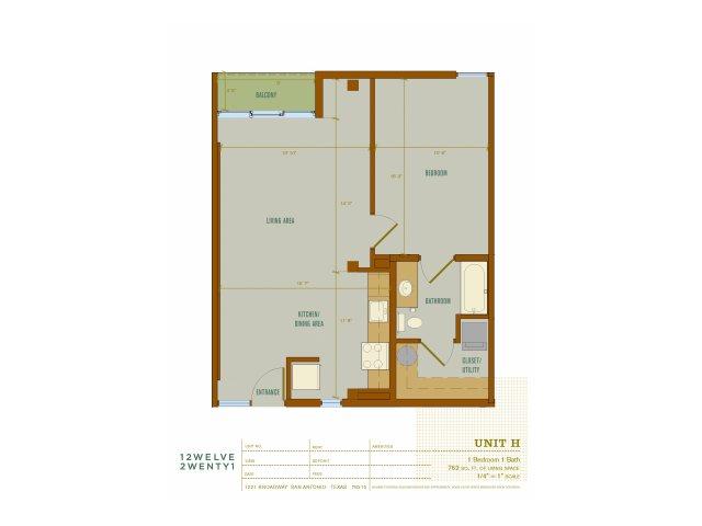 762 sq. ft. H floor plan