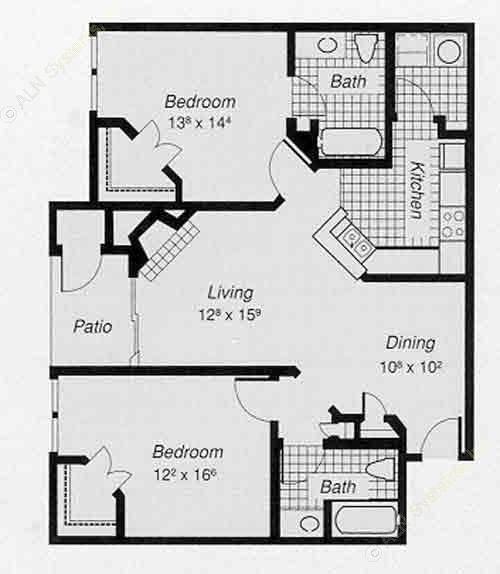 1,072 sq. ft. 2-A floor plan