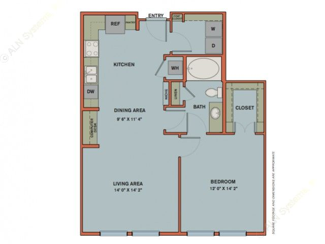 815 sq. ft. A7.1 floor plan