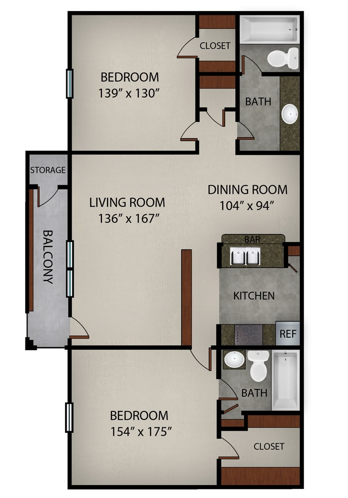 942 sq. ft. C floor plan