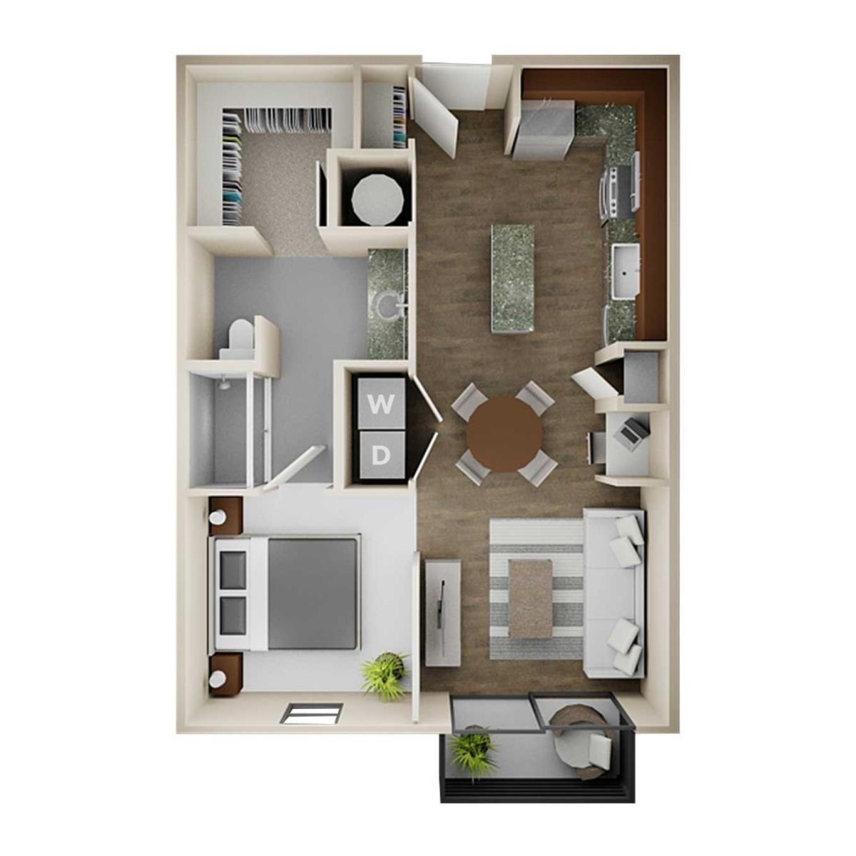 655 sq. ft. E1 floor plan