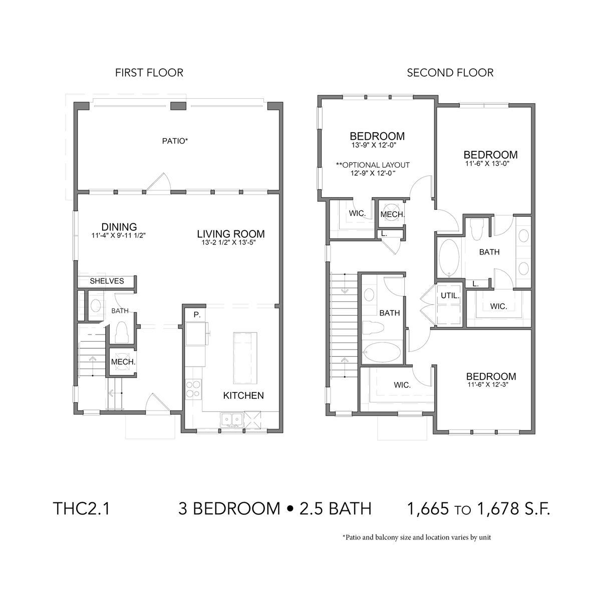 1,665 sq. ft. THC2.1 floor plan