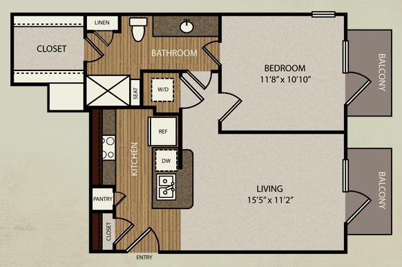 627 sq. ft. A1 floor plan