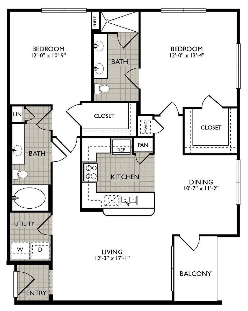 1,176 sq. ft. PEACE floor plan