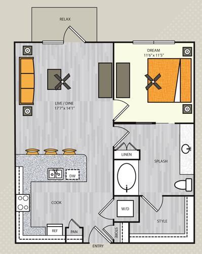 801 sq. ft. A7 floor plan