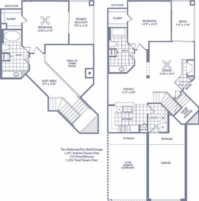1,351 sq. ft. B6G/B6G2 floor plan