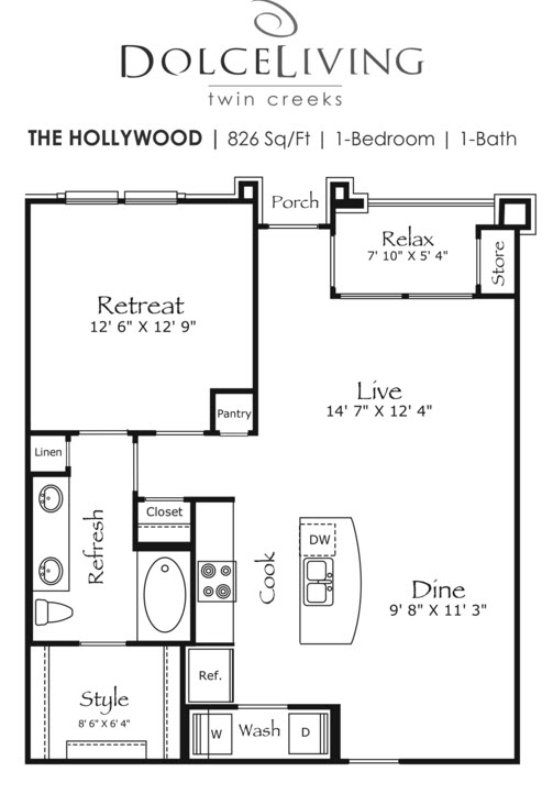 826 sq. ft. A5-Hollywood II floor plan