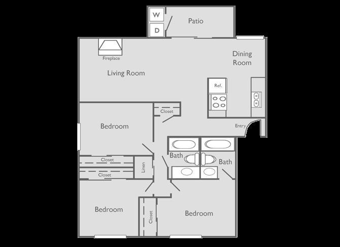 1,250 sq. ft. DAVINCHI floor plan