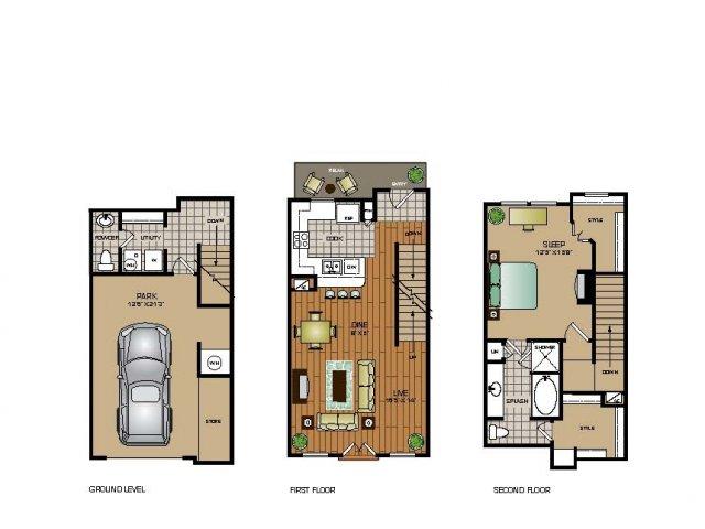 1,068 sq. ft. TH2 floor plan
