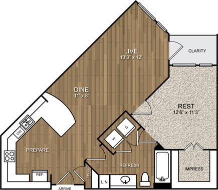 733 sq. ft. A5 floor plan