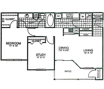 953 sq. ft. A3 floor plan