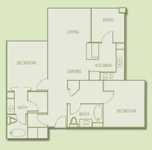 992 sq. ft. B2 floor plan
