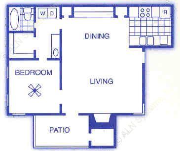 710 sq. ft. A3 floor plan