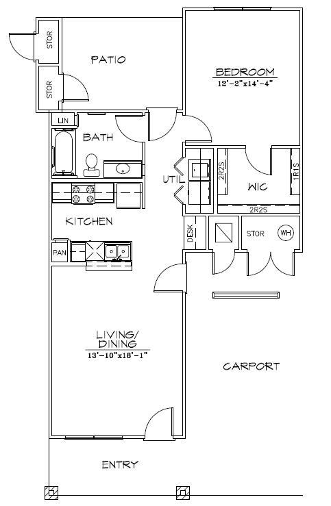 830 sq. ft. Mkt floor plan