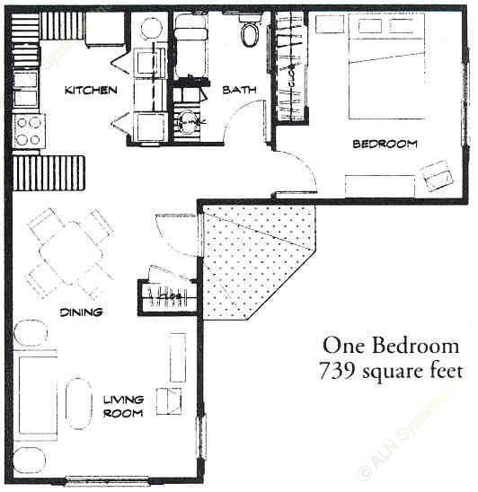 739 sq. ft. 50% floor plan
