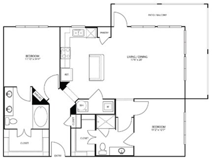 1,155 sq. ft. to 1,274 sq. ft. B2 floor plan